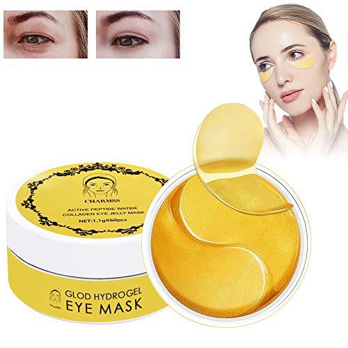 Maschera per gli occhi, Eye Patch, Maschera d'occhio del collagene, Crystal Gold Collagen Eye Mask, Maschere Eye Gel Patches, Idratante, anti-età, Ridurre Borse, Occhiaie e Puffiness, 60 Patches(oro)