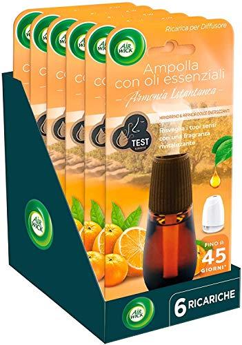 Air Wick Ricariche per Diffusore di Oli Essenziali, Mandarino e Arancia Dolce Energizzanti, Confezione da 6