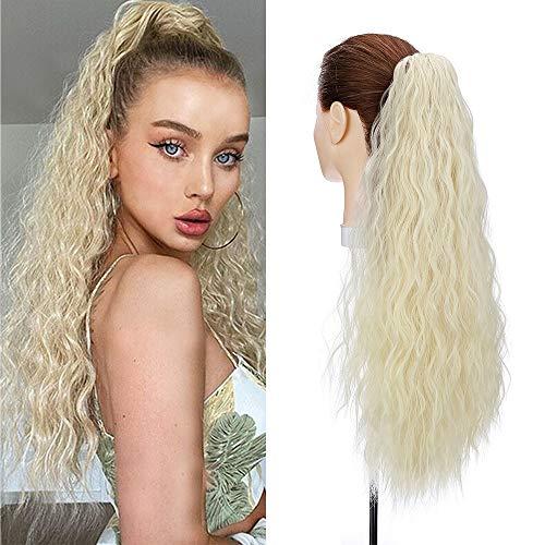 Silk-co 60cm Coda Finta Capelli Corn con Pinza Wave Ponytail Hair Extension Clip Capelli Ricci Coda di Cavallo-Biondo Chiarissimo