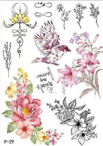 TATTOO P29 - Finto tatuaggio ad acqua con fiori e uccellini