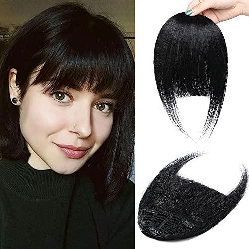 Elailite Frangia Clip Capelli Veri Frangetta Extension Invisibili 100% Remy Human Hair Naturali Lisci Umani Hair Bang Fascia Unica 25g - Nero Scuro