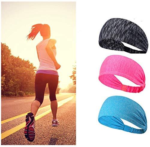 Volksladen Sport - Fascia per capelli da donna, fascia per il sudore, 3 pezzi, elastica, antiscivolo, 3 confezioni di stile B.