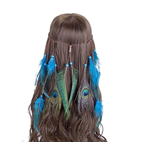 AWAYTR Copricapo indiani con fascia vintage in piume Boho Hippie perline Accessori per capelli in maschera mascherata per donne ragazze (Blu)