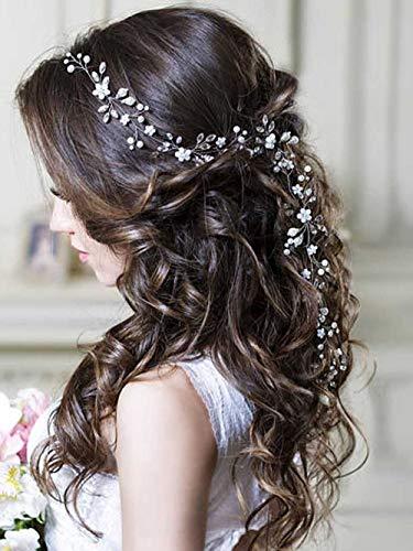 Unicra argento matrimonio fiore di cristallo capelli vite copricapo da sposa fasce accessori per capelli da sposa per le spose (argento)