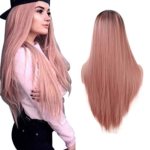 Parrucca Ombrè Liscia Rosa Lunga e setosa lunghezza di 22 Pollici Sottile e Naturale Parte Centrale Parrucca per cosplay o per Halloween