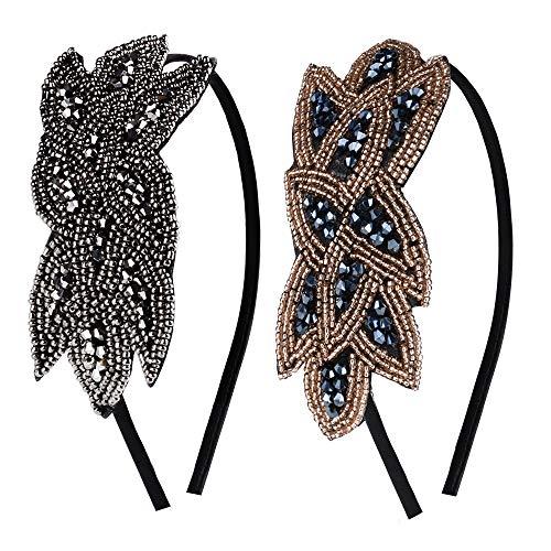 2 pezzi Cerchietto per Capelli da Donna Elegante Vintage Fermacapelli Accessori per Feste a Tema Anni 20 Halloween Carnevale (2 pezzi)