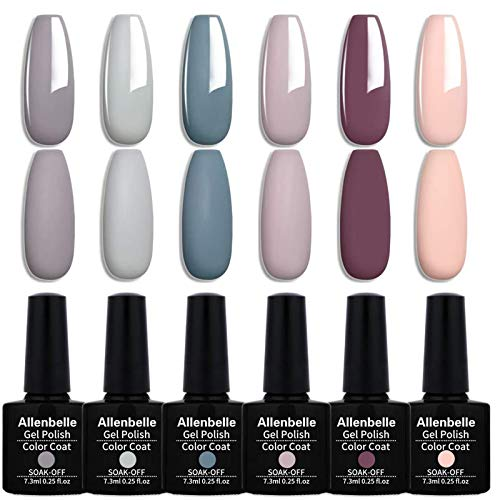 Allenbelle Smalto Semipermante Per Unghie Kit In Gel Uv Led Smalti Semipermanenti Per Unghie Nail Polish UV LED Gel Unghie(Kit di 6 pcs 7.3ML/pc) (032)