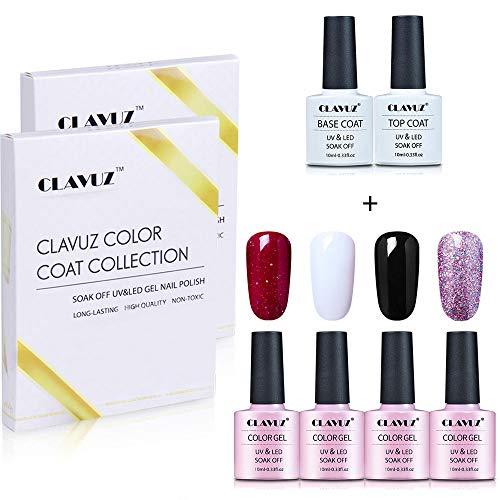 CLAVUZ Smalto Semipermente Smalto per Unghie Set Kit da 4pzs Gel Colores e Top Coat Base Coat Nail Soak off UV LED Romantico Gel Semipermanente per Unghie Manicure 10ML Gift Set - C011