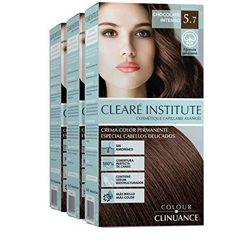 CLEARÉ INSTITUTE Colore clinuance. Tinta per capelli delicati, permanente colorazione ammoniaca, più luminoso, colore intenso Cioccolato intenso 5.7
