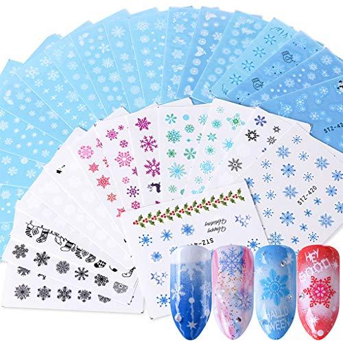 Fangfeen 30 Fogli/Set di Natale del Fumetto Libero Nail Stickers Inverno Fiocco di Neve Involucro chiodo Serie chiodo degli autoadesivi Involucri Manicure Tatuaggi Decor