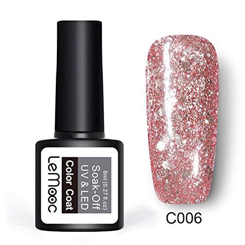 Nail Art - Smalto gel per unghie con paillettes, effetto platino, 8 ml, colore: oro rosa platino
