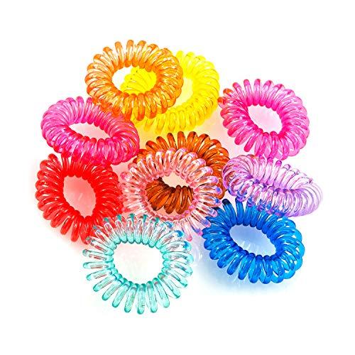 Pajoma Capelli mituso Gomma (Spirale plastica), Cavo telefonico, Elastica, per Capelli in Set di 10Multicolore