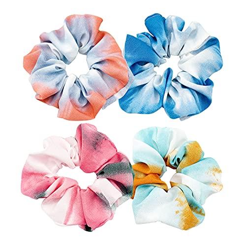 Tarister [4 pezzi] Elastici per capelli colorati elastici per capelli con rivestimento in tessuto per fissare i capelli, per donne, ragazze e bambini