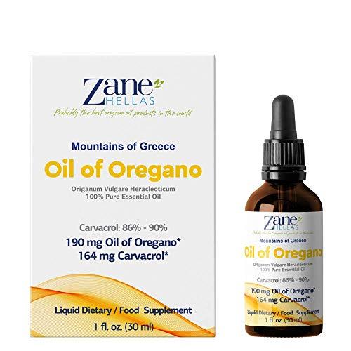 Zane Hellas 100% Olio di origano Non diluito.Puro Olio Essenziale Greco Puro di Origano.86% Carvacrolo Min.164mg Carvacrolo per porzione.Probabilmente Il miglior Olio di origano del Mondo.