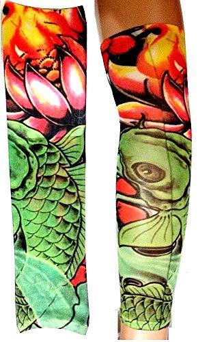 Inception Pro Infinite Manicotto Tattoo - Indossabile - Manica - Tatuaggio Finto - Immagine - Pesce - Fiori - Fantasia - Tatoo - Mezza Manica - Tribale - W96 - Modello 57 - Idea Regalo