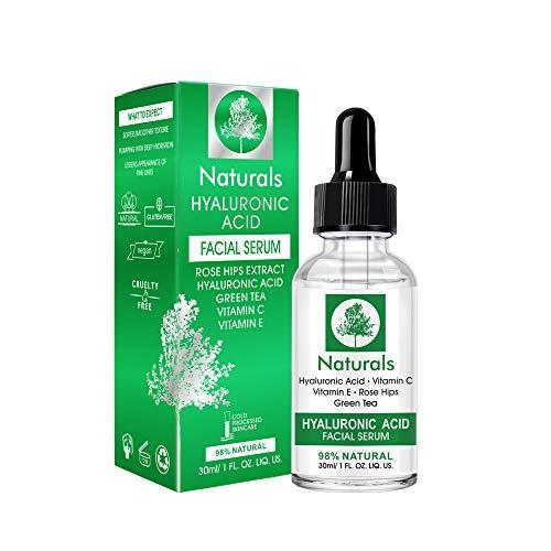 Siero All'acido Ialuronico, Hyaluronic Acid Serum con Effetto Antiossidante Anti-invecchiamento e Anti-rughe, Stimola la Produzione di Collagene per una Pelle più Morbida, Sana e Luminosa-30ml