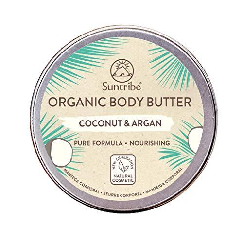 Burro Per il Corpo Biologico Cocco & Argan Suntribe - 100% Biologico - 5 Ingredienti - Nutriente & Idratante - Pelle (Molto) Secca/Sensibile (150 ml)