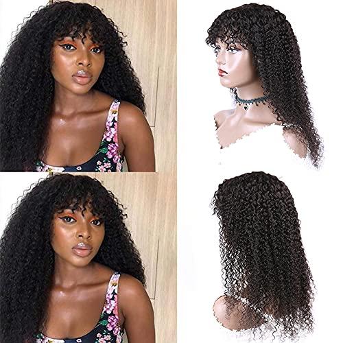 Ur Beautiful Parrucca Riccia Parrucca Donna Capelli Veri Parrucca di Capelli Umani Ricci Parrucche Brasiliane Remy Brazilian kinky Curly Human Hair Wigs 20 Inch No Lace Colore Nero Naturale