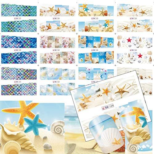 RXBGPZZJT Adesivo per unghie 12 stili estate acqua tatuaggi shell/conchiglia/stella marina/sandbeach nail art copertura completa disegni cool nail stickers decalcomanie TRBN157-168