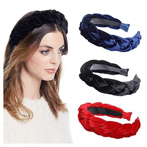 WELROG Imbottito Cerchietti donne Di spessore Velluto 90s Accessori per capelli Fascia per capelli Vintage spagnolo Stile Alice Hair Band (blu navy + nero + rosso)
