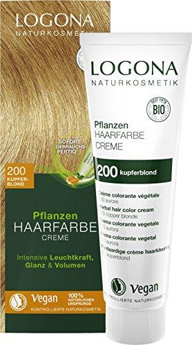 LOGONA - Tinta per capelli naturale per piante in crema 200 biondo ramato, biondo naturale, con henné, colorante permanente, 150 ml