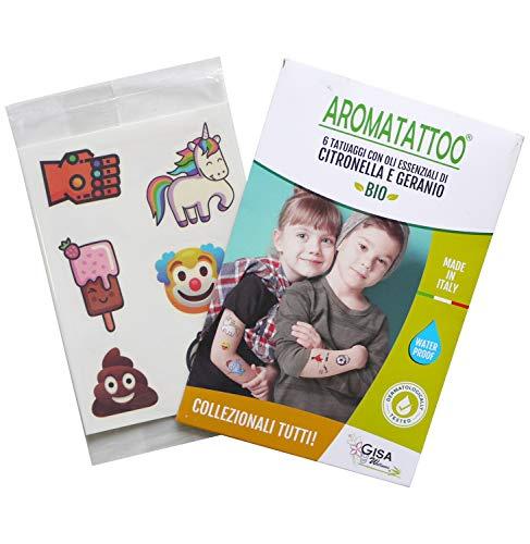 AROMATATTOO®, 5 Bustine con 6 Tatuaggi Temporanei Antizanzare per Bambini, con Olio Essenziale di Citronella e Geranio, Dermatologicamente Testato, Waterproof, Più di 100 Disegni