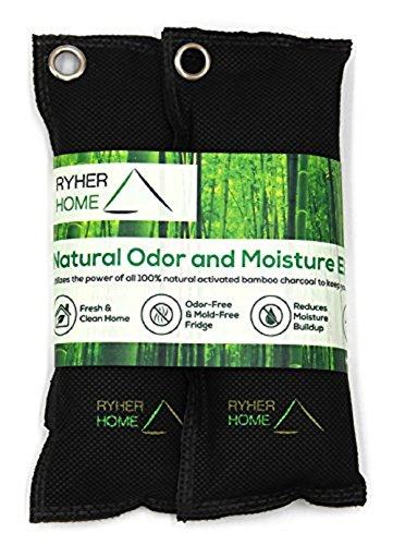 Ryher 2x Deodorante Scarpe a base di Carbone attivo di Bamboo - Deodorante Naturale elimina odori scarpe - Deodorante bio - Cattura odori, anti muffa e anti umidita - Riutilizzabile fino a 2 anni