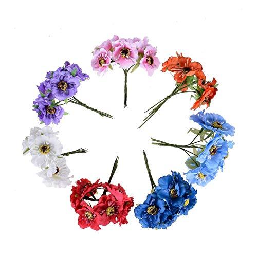 LYLY 6pcs 3.5cm di Seta di Seta Artificiale del Papavero del Bouquet del Tatuaggio Fatto a Mano del Tatuaggio del Tatuaggio del Tatuaggio del Tatuaggio del Tatuaggio del Tatuaggio (Color : Purple)