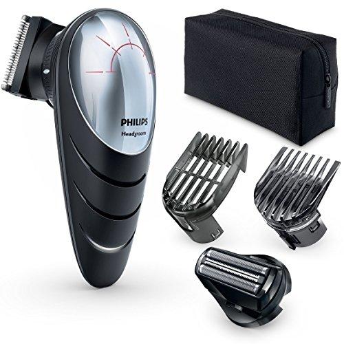 Philips QC5580/32 Tagliacapelli Effetto Scalpo, Testina Rotante 180°, Pettine di Precisione e Testina per Effetto Scalpo 0 mm, Nero/Argento