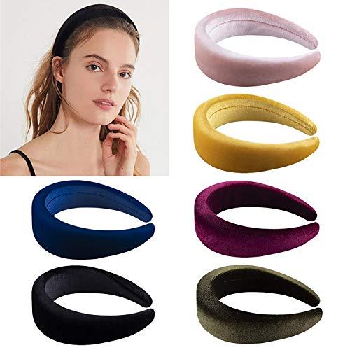 SIMIN 6 Pezzi Hard Headbands, Fasce Per Capelli in Spugna di Velluto Cerchietti Antiscivolo Capelli Fasce Copricapo Capelli Fascia Vintage per le Donne
