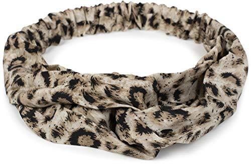 styleBREAKER Fascia per capelli da donna con stampa animalier leopardata, nodo a torsione e fascia elastica, fascia per capelli, fascia per la testa 04026020, colore:Crema-Beige-Nero