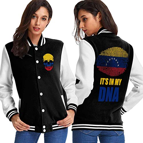BYYKK Donna Giacche e Cappotti Venezuela It's in My Dna Women's Long Sleeve Baseball Jacket Varsity Jacket