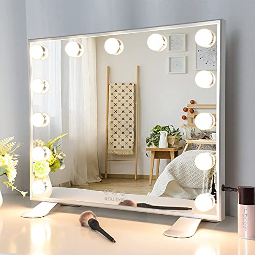 Specchio con Luci Make Up, Specchio per il Trucco Professionale di Hollywood, Tre Modalità di Illuminazione a Colori, Specchio di Bellezza Touch da Tavolo/a Parete