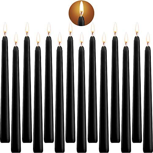 SaiXuan Candele Coniche,Candele rituali Alto Cono Candele Unscented con Cotone Wicks 10 Pollici Nere,14 unità