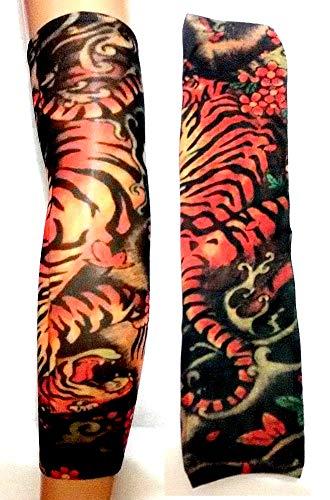 Manicotto Tattoo Manica Tatuaggio Finto Tigre Felino Animale Fiori Tribale W47 Idea Regalo Natale Compleanno Festa