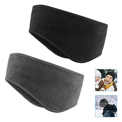 2 pezzi di fascia elastica invernale per tenere al caldo, fascia per sport invernali Jooheli protezione per le orecchie da uomo e donna fascia per capelli invernale corsa yoga sci (Nero + Grigio)