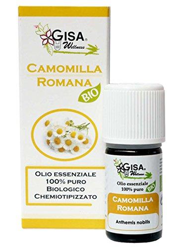 CAMOMILLA ROMANA, Olio Essenziale Bio, 100% Puro e Naturale, [2ml], Alimentare, per Aromaterapia, Massaggi, Relax, Cura della Persona