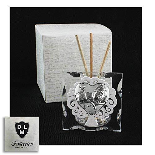 DLM29620 Diffusore Profumatore in Vetro Cuore Calice per Santa Cresima e Albero della Vita in Legno Bianco bomboniera