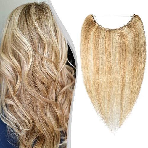 Elailite Extension Capelli Veri Invisibile con Filo 100% Remy Human Hair Balayage senza Clip Standard Weft 40cm #18 Beige/#613 Biondo 60g