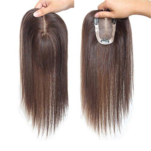 Topper di capelli umani per il diradamento dei capelli, 7,6 x 11,9 cm, legati a mano, capelli Remy