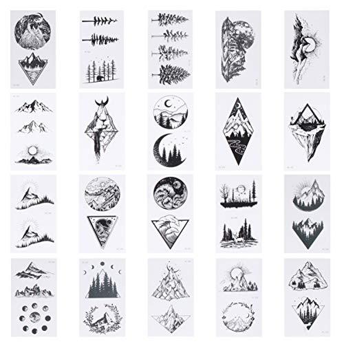 SOLUSTRE 20 Fogli Mountain Tatuaggi Temporanei Adesivi tra Cui Falso Tatuaggi Impermeabile Falso Nero Geometria Sun Star Moon Tree Triangolo Onda Del Mare Tatuaggi Semi Permanente Tatuaggi