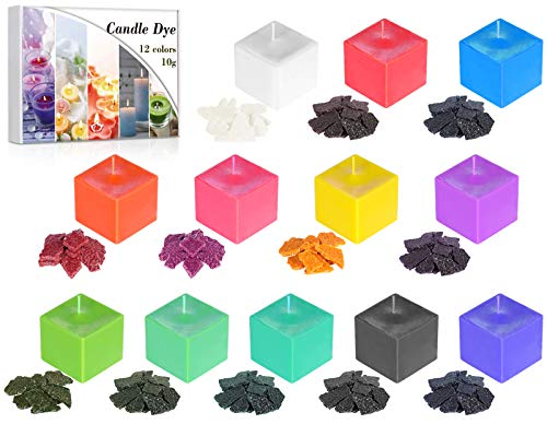 AJOXEL 12 Colori Coloranti per Candela Tintura per Cera Kit per Cera di Soia/Paraffina/Cera d'api - 10 g / 0,35oz Cera Scioglie Coloranti Kit per Produzione di Sapone Candela per Adulti