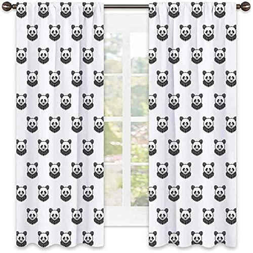 Tenda isolata per tatuaggio, stilizzata a forma di panda orso, ritratti con motivo a mascotte per bambini in bianco e nero, tonalità insonorizzate, larghezza 150 x lunghezza 72 cm, bianco e nero