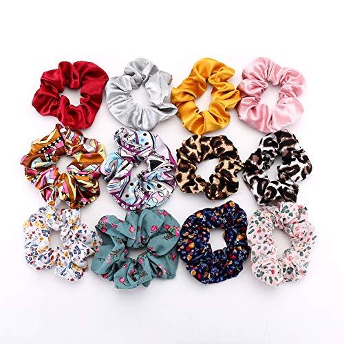 12 elastici per capelli in chiffon, con fiore di grandi dimensioni, con fiocco colorato per coda di cavallo, accessori per capelli personalizzati per donna o ragazza