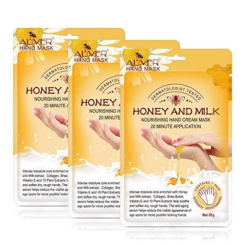 Maschera per le mani, 3 paia Guanti idratanti al miele e al latte Nutriente ammorbidente Cura delle mani per crepe secche Maschera per le mani Idratante Esfoliante Sbiancante Pelle per donne e uomini