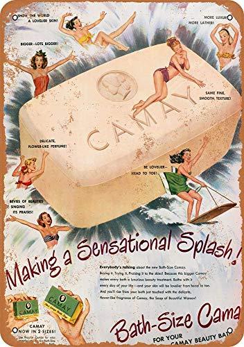 Yohoba 1948Camay Sapone da Bagno in Metallo, Effetto Vintage, 30,5x 45,7cm