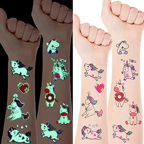 5 Fogli di Adesivi a Tatuaggio di Unicorno per Ragazze, Oltre 40 Stili Tatuaggi Glitter per Bambini Decorazioni di Compleanno Ornamenti di Regalo a Unicorno per Ragazze Feste di Unicorno