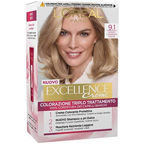 L'Oréal Paris Tinta Capelli Excellence, Copre i Capelli Bianchi, Colore Ricco, Luminoso e a Lunga Durata, 9.1 Biondo Chiarissimo Cenere, Confezione da 1