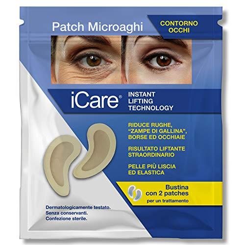 iCare Patch Microaghi Contorno Occhi - Instant Lifting Technology - Con Acido Ialuronico HD - Indolore, Monouso, Idratante, Elasticizzante - Elimina Rughe Perioculari, elimina Occhiaie e Borse Oculari