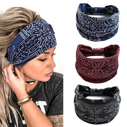 Yean Fasce per yoga Fasce elastiche larghe Fasce per capelli Boho Accessori per capelli floreali per donne e ragazze (confezione da 3) (C)